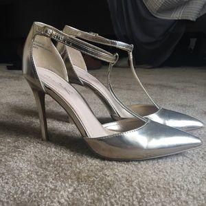 Gold T-Strap High Heels